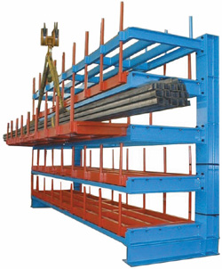 stockage à tiroir pour barres d'acier et pour charges longues