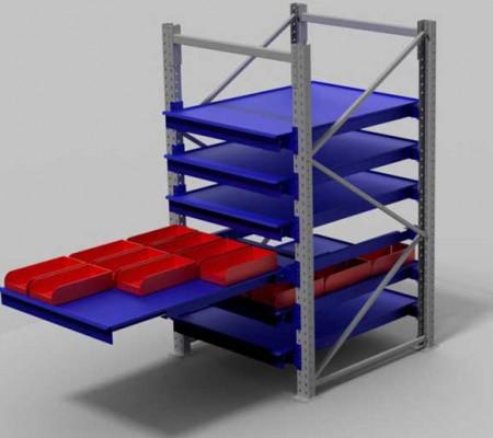 rayonnage à tiroirs pour bacs et cartons
