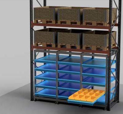 rayonnage à tiroir compact